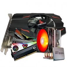 Kit Upgrade Biostar Radeon RX 550 4GB + Ryzen 3 3300X + Memória DDR4 16GB (2x8GB) 3000Mhz + Brinde Cooler